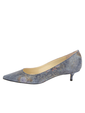 Womens Navy Floral Stamp Born Pointed Toe Kitten Heel 7
