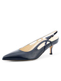 Womens Navy Leather Sadetta Pointed Toe Slingback