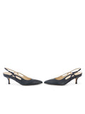 Womens Navy Leather Sadetta Pointed Toe Slingback 5