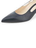Womens Navy Leather Sadetta Pointed Toe Slingback 6