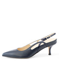 Womens Navy Leather Sadetta Pointed Toe Slingback 7