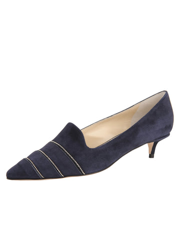 Womens Navy Suede Bayley Pointed Toe Kitten Heel Alternate View