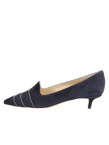 Womens Navy Suede Bayley Pointed Toe Kitten Heel 7