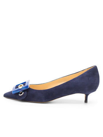 Womens Navy Suede Diana Pointed Toe Kitten Heel 7