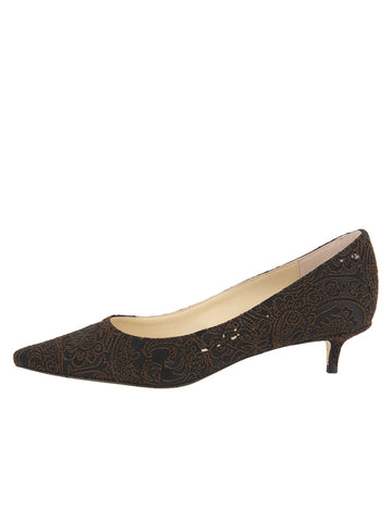 Womens Peppercorn Silk Paisley Born Pointed Toe Kitten Heel 7