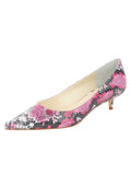 Womens Pink Aztec Floral Born Pointed Toe Kitten Heel