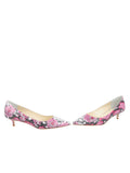 Womens Pink Aztec Floral Born Pointed Toe Kitten Heel 5