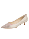 Womens Platino Daisy Stamp Born Pointed Toe Kitten Heel