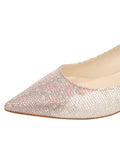 Womens Platino Daisy Stamp Born Pointed Toe Kitten Heel 6