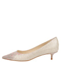 Womens Platino Daisy Stamp Born Pointed Toe Kitten Heel 7