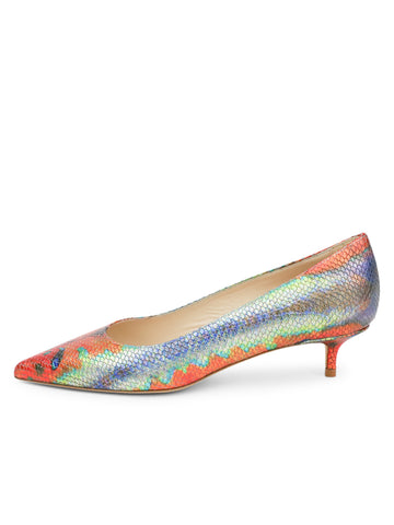 Womens Rainbow Fish Deluxe Pointed Toe Kitten Heel 7