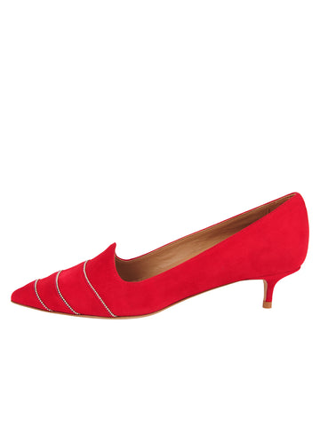 Womens Red Suede Bayley Pointed Toe Kitten Heel 7