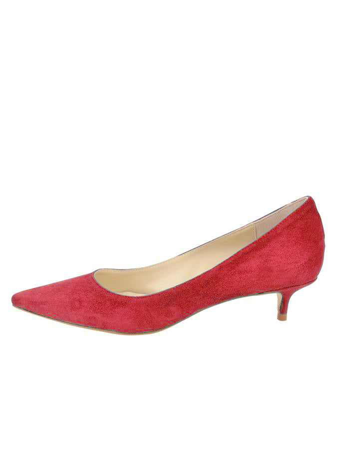 Womens Red Suede Born Pointed Toe Kitten Heel 7