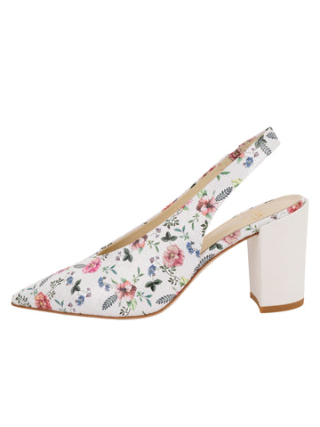 Womens Rose/White Snake Kendell Slingback Pump 7
