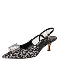 Womens Silver/Black Neila Pointed Toe Slingback