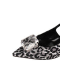 Womens Silver/Black Neila Pointed Toe Slingback 6