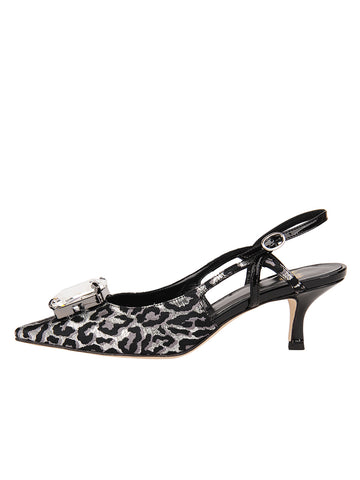 Womens Silver/Black Neila Pointed Toe Slingback 7