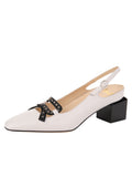 Womens White Nappa/Black Nixon Slingback Pump
