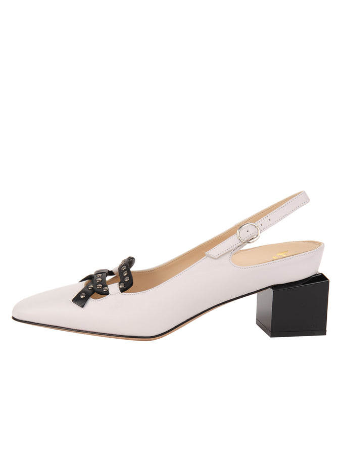 Womens White Nappa/Black Nixon Slingback Pump 7