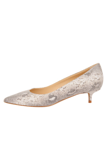 Womens White Pearl Snake Stamp Deluxe Pointed Toe Kitten Heel 7