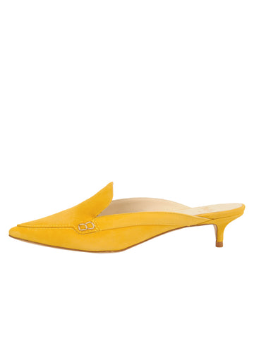Womens Yellow Suede Bablina Kitten Heel Mule 7