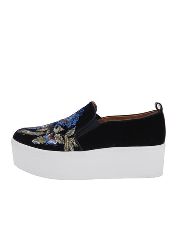 Womens Blue Embroidered Velvet Vivian 2