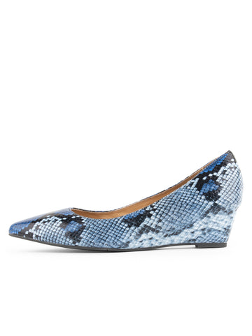 Womens Blue Gloss Paris Wedge 2