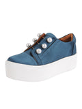 Womens Steel Blue Satin Val