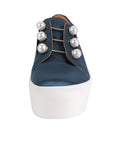Womens Steel Blue Satin Val 6