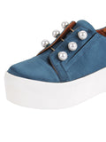Womens Steel Blue Satin Val 7
