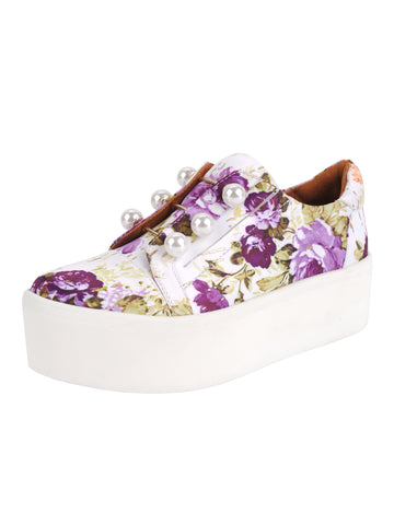 Womens Violet Floral Satin Val Alternate View