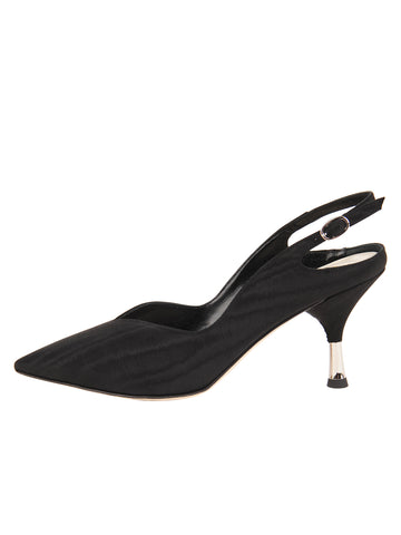 Womens Black Moire Esta Slingback Pump 7