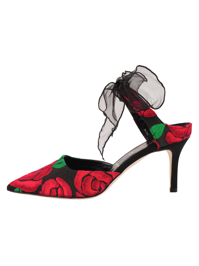 Womens Black/Red Floral Elvie Pointed Toe Pump 7
