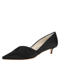 Womens Black Satin Brenna Kitten Heel