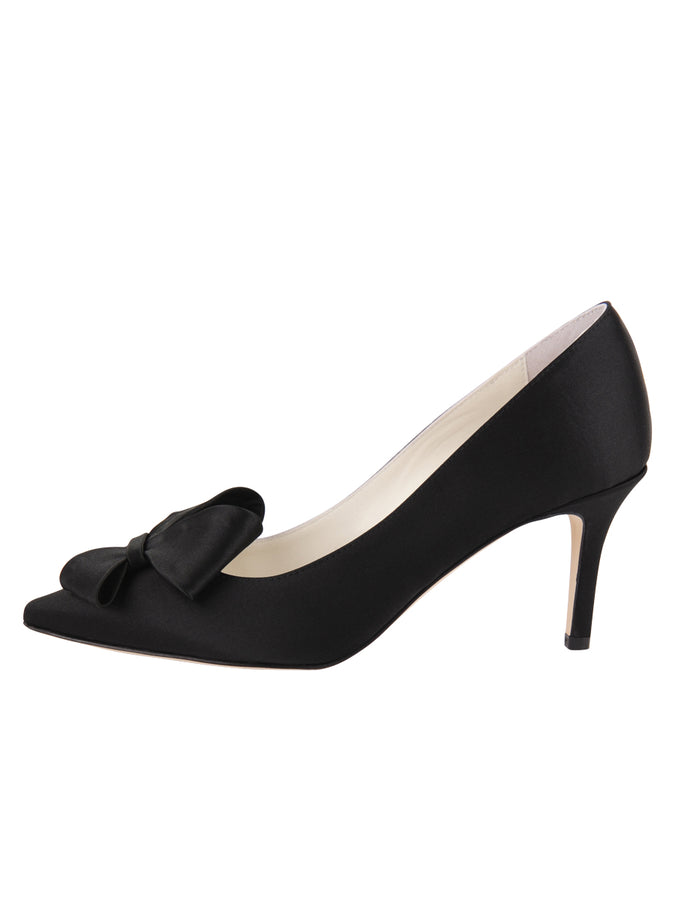Womens Black Satin Pointed Toe Pump 7