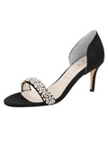 Womens Black Satin d'Orsay Sandal