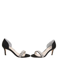 Womens Black Satin d'Orsay Sandal 5