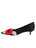 Womens Black Satin Bo Pointed Toe Kitten Heel 7