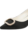 Womens Black Satin Cedar 6
