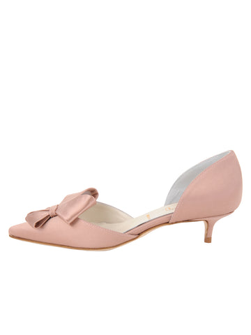 Womens Blush Satin Cliff d'Orsay Kitten Heel 7