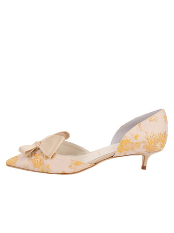 Womens Gold Romance Cliff d'Orsay Kitten Heel 7