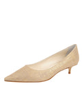 Womens Gold Wash Linen Bryn Kitten Heel