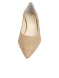 Womens Gold Wash Linen Bryn Kitten Heel 4