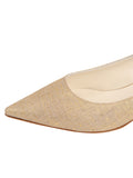 Womens Gold Wash Linen Bryn Kitten Heel 6