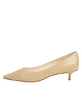 Womens Gold Wash Linen Bryn Kitten Heel 7