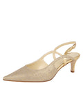 Womens Gold Wash Linen Nadette Pointed Toe Slingback