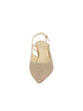 Womens Gold Wash Linen Nadette Pointed Toe Slingback 4