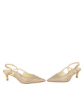 Womens Gold Wash Linen Nadette Pointed Toe Slingback 5