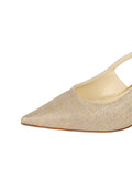 Womens Gold Wash Linen Nadette Pointed Toe Slingback 6
