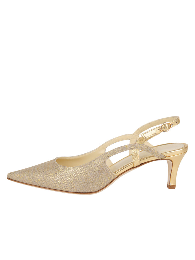 Womens Gold Wash Linen Nadette Pointed Toe Slingback 7